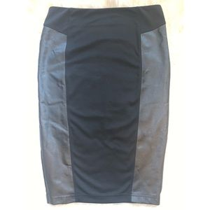 14th and Union knit and faux leather panel skirt